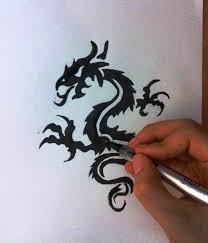 how to draw a simple tribal dragon tattoo design speed drawing