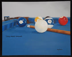 billiards painting stopped in the middle of the game