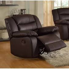 Faux Leather Recliner Layla Brown Faux Leather Reclining And Rocking Chair