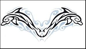 tribal dolphin tattoos design for lower back