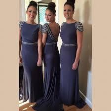 affordable illusion bridesmaid dresses a line blue chiffon