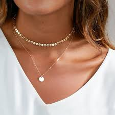 woman with necklace images Buy zuowen double layer round pendant necklace jpg