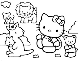 coloriage a imprimer hello kitty au zoo gratuit et colorier