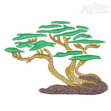 california cypress tree embroidery design
