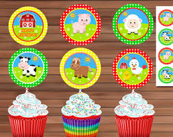 farm cake toppers farm cupcake toppers etsy
