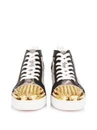 christian louboutin lou python and leather high top sneakers in