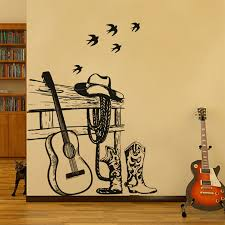 compare prices on western wall sticker online shopping buy low black guitar and western denim wall stickers home decor bedroom music classroom decals china