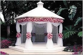 Pink Flowers for White Gazebo