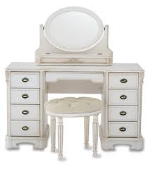 Tall Vanity Stool Custom Old Light Polished Wooden Dresser Table With Three Tier