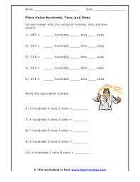 tens and units worksheets printable place value hundreds tens and ones