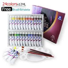 water resistant 24 colors 12ml tube acrylic paint set color nail
