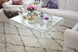 clear acrylic coffee table clear acrylic coffee table frame with brass accents