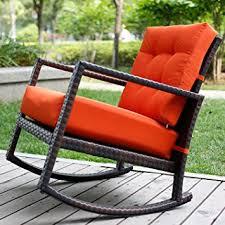 Outdoor Furniture Rocking Chair by Amazon Com Merax Cushioned Rattan Rocker Chair Rocking Armchair