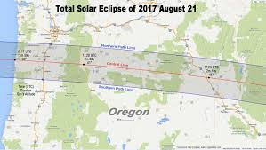 Oregon Map Us by Total Eclipse Of The Sun August 21 2017