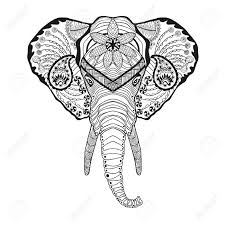 elephant head antistress coloring page black white hand