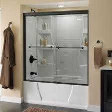 delta lyndall 60 in x 58 1 8 in semi frameless sliding bathtub