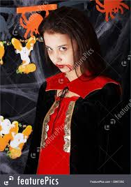 halloween in a vampire costume at halloween stock picture