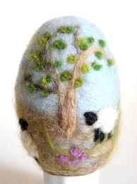 felted easter eggs needle felted easter egg tree grazing sheep flickr