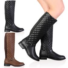 womens boots quilted 1a womens faux leather quilted knee high flat boots