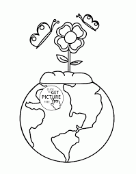 earth and flower earth day coloring page for kids coloring