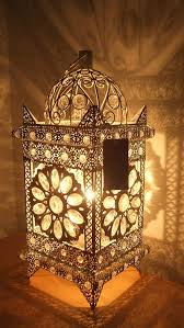 vintage moroccan jewelled table light white metal with clear