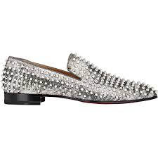 christian louboutin spiked dandelion loafers in metallic for men