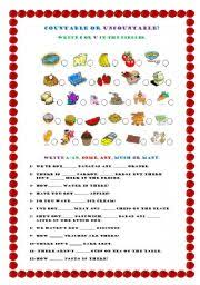 Countable And Uncountable Some Any Exercises Pdf Countable Or Uncountable Food Delicious