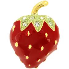 red strawberry swarovski crystal lapel pin fantasyard costume