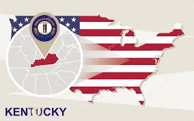 kentucky flag map usa map with magnified kentucky state kentucky flag and map