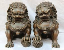 lion dog statue wholesale 12 pair home fengshui purple bronze guardian