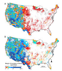 Map Colors Species On The Move Mapping Barriers For Wildlife In A Warming