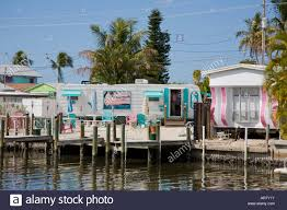 colorful trailer houses in matlacha florida on the southwestern