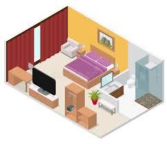 plan chambre d hotel vue isométrique intérieure de chambre d hôtel vecteur illustration