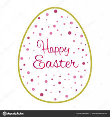 beautiful golden outline easter egg with pink dots u2014 stock vector