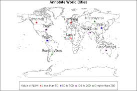 world cities on map 24906 annotate cities on a world map with proc gmap