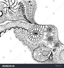 black white floral background zentangle pattern stock vector