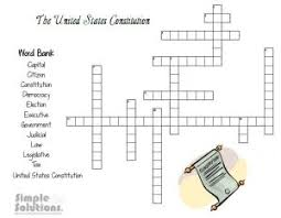constitution day crossword puzzle worksheet from simple solutions