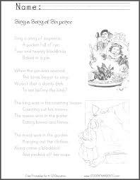 sing a song of sixpence nursery rhyme worksheets three free