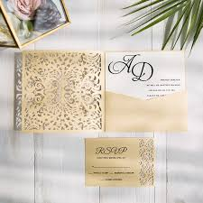 gold laser cut pocket wedding invitations with matching rsvp cards