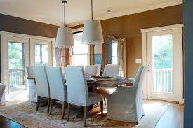 trestle table in dining room beach style with mirror above console