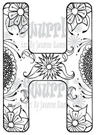 monogram letter instant coloring page monogram letter h by on alphabet