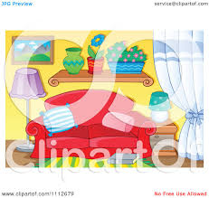 Room With Plants Clipart Red Couch In A Living Room With Plants On A Shelf