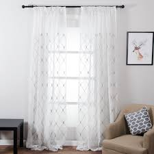 topfinel geometric design sheer curtains tulle window curtains for
