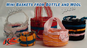 diy mini baskets from bottle and wool how to make jk arts 284