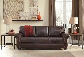 Traditional Leather Sofas Walnut Traditional Leather Sofa With Optional Queen Sleeper