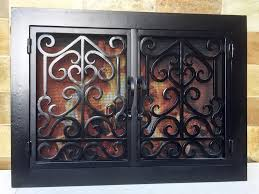 custom wrought iron fireplace doors the best idea of wrought