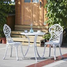 Metal Patio Table And Chairs 3pcs Modern Outdoor Patio Bistro Set Aluminum Garden Table U0026chairs