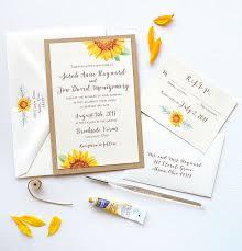 Sunflower Wedding Programs Watercolor Wedding Invitations Unique Custom Wedding Invitation