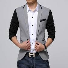 casual blazer slim fit casual jacket cotton blazer jacket single button gray
