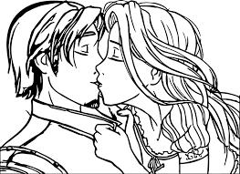 rapunzel flynn couple kiss coloring wecoloringpage